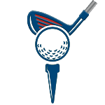 Patriot Golf Day: Icon of a golf ball with a golf driver behind it